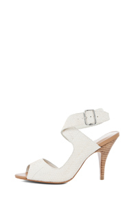 3.1 phillip lim Asymmetric Salmon Ankle Strap Sandal in White,Animal Print - Forward by Elyse Walker