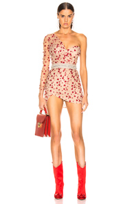 AADNEVIK Aadnevik French Lace One Shoulder Mini Dress In Abstract,Neutral,Red