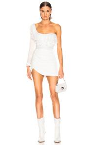 AADNEVIK Aadnevik Velvet One Shoulder Mini Dress In White