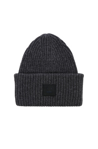 ACNE STUDIOS PANSY FACE BEANIE IN GRAY