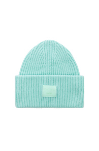 ACNE STUDIOS PANSY FACE BEANIE IN GREEN