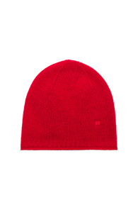 ACNE STUDIOS FACE SLOUCH BEANIE IN BLACK IN RED