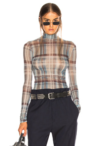 ACNE STUDIOS SHEER PLAID TURTLENECK TOP IN BLUE,PLAID