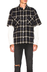ADAPTATION DOUBLE SLEEVE SHIRT IN BLUE,PLAID