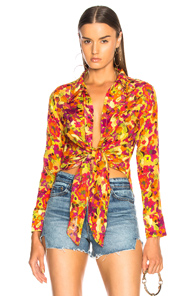 ADRIANA DEGREAS FRUITS PRINT TOP IN YELLOW,ORANGE,TROPICAL
