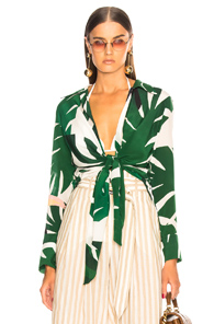 ADRIANA DEGREAS FOR FWRD TIE FRONT TOP IN GREEN