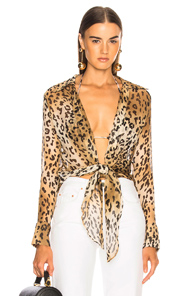 ADRIANA DEGREAS X CHARLOTTE OLYMPIA SHIRT IN ANIMAL PRINT,NEUTRALS