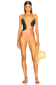 ADRIANA DEGREAS TROPICAL CHIC SWIMSUIT WITH TULLE IN GREEN,PINK