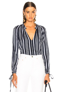 AG ADRIANO GOLDSCHMIED KARINA TOP IN BLUE,STRIPES