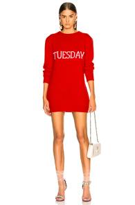 ALBERTA FERRETTI TUESDAY CREWNECK SWEATER DRESS IN RED