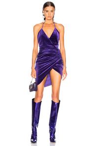 ALEXANDRE VAUTHIER Alexandre Vauthier Jersey Velvet Ruched Halter Mini Dress In Purple
