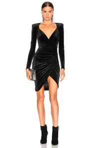 ALEXANDRE VAUTHIER Gathered Velvet Mini Wrap Dress in Black