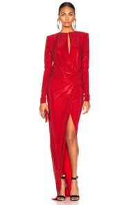 ALEXANDRE VAUTHIER Alexandre Vauthier Draped Diamante Split Neck Gown - Red