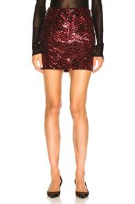 ALEXANDRE VAUTHIER Zebra-Sequined Mini Skirt in Animal Print,Black,Red