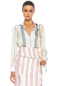 Altuzarra Chika Silk Button Front Shirt in White,Stripes