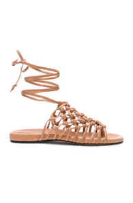 ALUMNAE KNOTTED LEATHER ANKLE WRAP SANDALS IN NEUTRALS