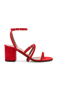 ALUMNAE STRAPPY ANKLE WRAP SANDALS IN RED