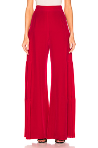 ALEXIS Talley Shirred Wide-Leg Silk Pants in Red