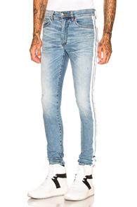Piste Pile Rayé Maigre Ajustement Des Jeans En Denim Stretch Affligé Amiri MKXlwYNzXh