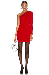 ALEXANDER WANG ASYMMETRICAL LONG SLEEVE DRESS IN RED
