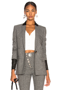 ALEXANDER WANG DOUBLE BREASTED NOTCH BLAZER IN CHECKERED & PLAID,GRAY