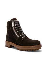 BALMAIN SUEDE RANGER ARMY BOOTS IN BROWN