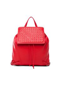Bottega Veneta Woven Leather Backpack in Red