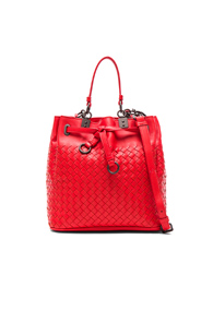 Bottega Veneta Woven Bucket Bag in Red
