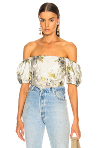 BROCK COLLECTION BOIE BLOUSE IN BLUE,FLORAL