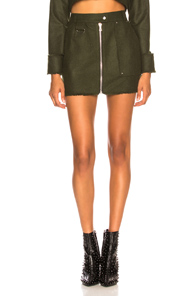 BEAU SOUCI zip front fitted mini skirt