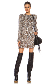 Carven Printed Crumpled Canvas Dress in Animal Print,Brown