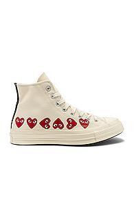 COMME DES GARÇONS PLAY   Comme Des Garcons PLAY Emblem Hi Top Sneaker in Novelty,White   Goxip