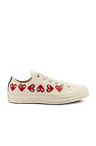 COMME DES GARÇONS PLAY   Comme Des Garcons PLAY Emblem Low Top Sneaker in Novelty,White   Goxip