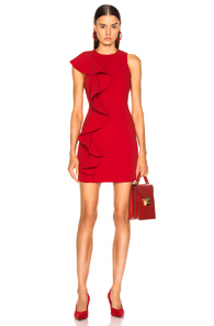 Cinq A Sept Ruffle Trim Mini Dress - Red
