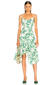 CAROLINE CONSTAS MARIE SLIP DRESS IN GREEN,FLORAL,WHITE