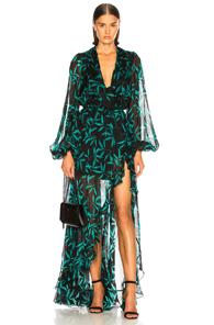 CAROLINE CONSTAS OLIVIA GOWN IN BLACK,GREEN,TROPICAL