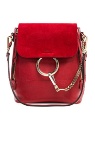 CHLOE SMALL FAYE CALFSKIN & SUEDE BACKPACK IN RED