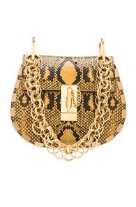 CHLOE MINI DREW BIJOU PYTHON PRINT LEATHER SHOULDER BAG IN YELLOW,ANIMAL PRINT