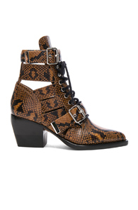 CHLOE RYLEE PYTHON PRINT LEATHER LACE UP BUCKLE BOOTS IN BROWN,ANIMAL PRINT