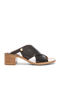 Chloe Criss Cross Leather Sandals in Black