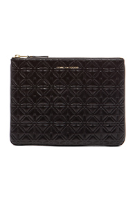 Comme Des Garcons Clover Embossed Pouch in Black
