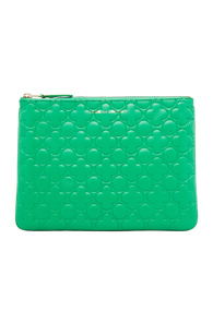 Comme Des Garcons Clover Embossed Pouch in Green,Geometric Print