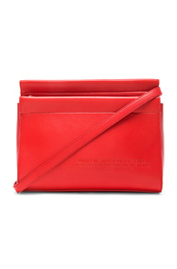 CALVIN KLEIN 205W39NYC RED TOP ZIP LEATHER CROSS-BODY BAG