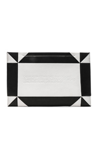 CALVIN KLEIN 205W39NYC GEOMETRIC QUILTED CLUTCH IN BLACK,WHITE