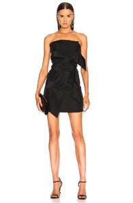 CARMEN MARCH STRAPLESS BUCKLE DRESS IN BLACK