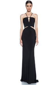 Cushnie et Ochs Silk Crepe Cut Out Maxi Dress in Black