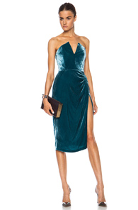 Cushnie et Ochs Velvet Dress in Green