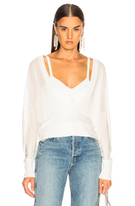 DION LEE LAYERED LOOP SWEATER IN WHITE