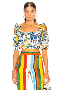 DOLCE & GABBANA MAIOLICA PRINT CROPPED BLOUSE IN BLUE,FLORAL,WHITE