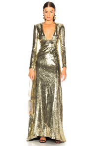 DUNDAS LONG-SLEEVE SEQUINED EVENING GOWN W/ OPEN BACK